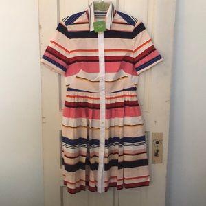 NWT Kate Spade Pink Striped Shirt Dress